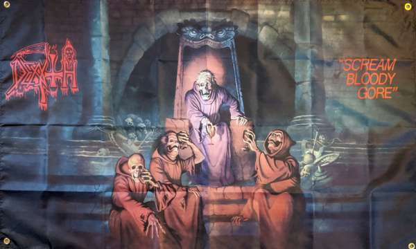 DEATH Scream Bloody Gore Poster Tapestry Flag BANNER HUGE 4X4Ft